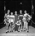 Wielrennen revanchewedstrijden stadion Amsterdam, (Hugo Koblet, Arie van Vliet,…, Bestanddeelnr 905-9227.jpg