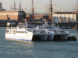 Wightlink - Wight Ryder I and Wight Ryder II at Portsmouth Harbour in August 2009 prior to entry into service
