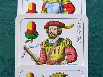 Swiss playing cards - William Tell as the Acorn Ober