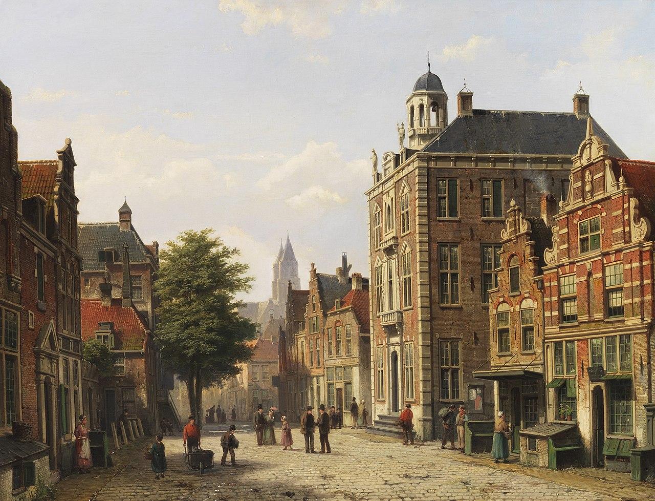 Willem Koekkoek Holländische Stadtansicht im Sommer.jpg