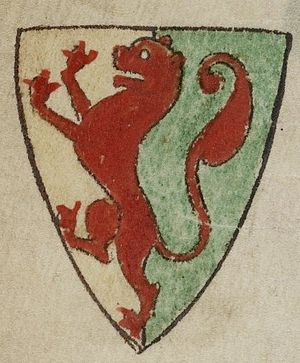 Earl Marshal - Depiction by Matthew Paris (d.1259) of the arms of William Marshal, 1st Earl of Pembroke (1194–1219): Party per pale or and vert, overall a lion rampant gules