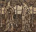 William Morris Guinevere and Iseult - cartoon for stained glass 1862.jpg