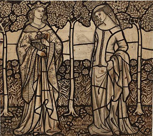 Tristram and Isoude stained glass panels - Cartoon for Queen Guenevere and Isoude Les Blanches Mains, William Morris, 1862. Tate Britain, London.