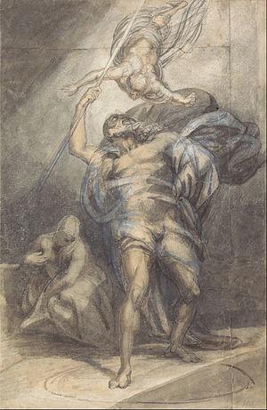 William Young Ottley - Prospero Summoning Ariel, drawing by Ottley, c. 1800