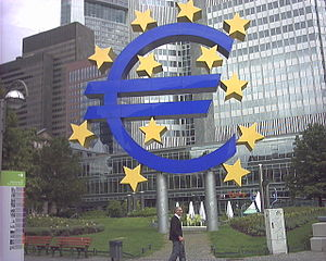 The symbol of the Euro area in Willy-Brandt Pl...