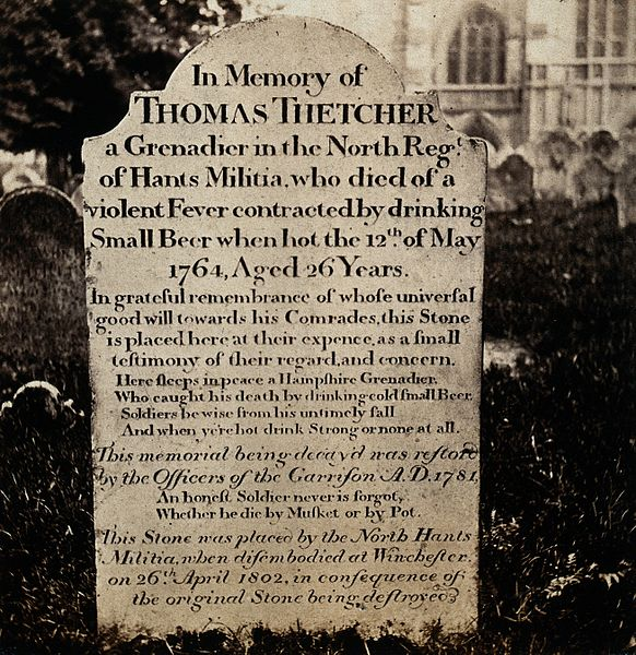 """File:Winchester; tombstone of Thomas Thetcher, who """"died of a Wellcome V0030968.jpg"""