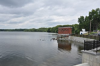 Mystic Dam - View of the gatehouse and the Upper Mystic Lake