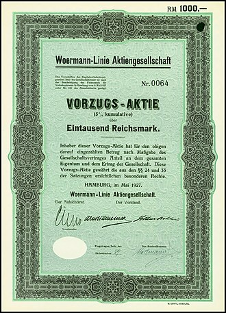 Woermann-Linie - Preferred Share of the Woermann-Linie, issued May 1927