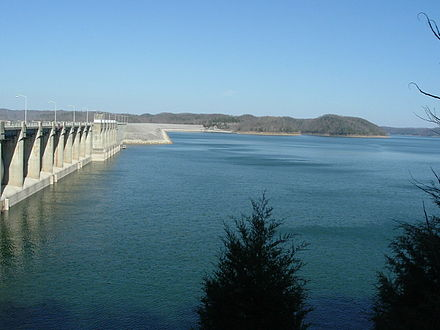 Lake Cumberland is the largest artificial American lake east of the Mississippi River by volume. Wolf Creek Dam and Lake Cumberland, KY.jpg