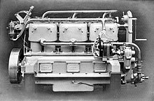 Wolseley marine oil engine. The cylinders, with monobloc heads, are cast in pairs with a prominent water jacket over their upper halves alone.
