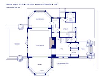 Warren Hickox House - Image: Wright Hickox Ground Floor Plan 01