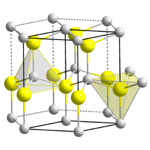 Compounds of zinc - The Wurtzite structure, showing the tetrahedral environment of both Zn and S atoms