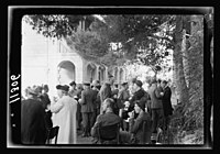 Y.M.C.A. Hostel in J'lem. (i.e., Jerusalem) for the men of H.M. Forces. Garden tea after opening LOC matpc.20571.jpg