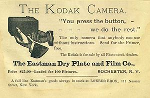 You Press the Button, We Do the Rest - Advertisement for the Kodak camera containing the slogan.
