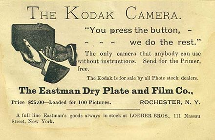 An advertisement from The Photographic Herald and Amateur Sportsman (November 1889) You press the button, we do the rest (Kodak).jpg