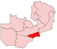 Map of Zambia showing the Lusaka Province