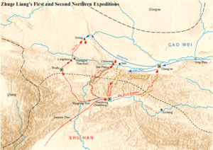 Zhuge Liang's Northern Expeditions - Map showing the first and second Northern Expeditions