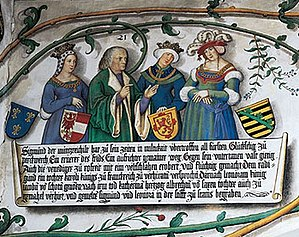Radegonde of Valois - Radegonde with her betrothed Sigismund, Archduke of Austria and his successive wives Eleanor of Scotland and Catherine, Archduchess of Austria.