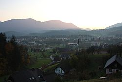 Panoramic view of Zreče from a nearby hill