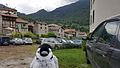 'Mr Penguin' overlooking the stone houses of Esino Lario, Wikimania 2016.jpg