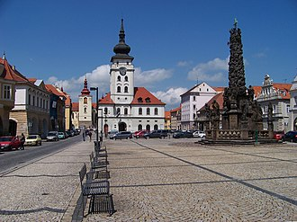 Žatec - Main square with town hall and trinity column