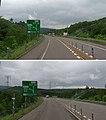 黒松内ジャンクション・方面と方向の予告(札幌側から、2018年7月に撮影したものを2枚合成、上・1km先、下・500m先).jpg