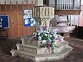 -2020-09-10 Stone baptismal font, Saint Mary's Church, Stalham (1).JPG