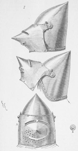 Bascinet - Bascinet, visor shown open and closed