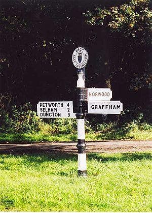 Direction, position, or indication sign - A British fingerpost of the style used before modernisation.
