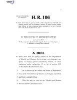 116th United States Congress H. R. 0000106 (1st session) - Health and Human Services Hiree Clarification Act.pdf