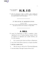 116th United States Congress H. R. 0000115 (1st session) - Protecting Diplomats from Surveillance Through Consumer Devices Act A - Introduced in House.pdf