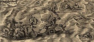 Americae Sive Quartae Orbis Partis Nova Et Exactissima Descriptio - Image: 1562 Americae Gutierrez 03 01hrs mid Deus Marinae Travelling with Animals