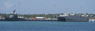 Magampura Mahinda Rajapaksa Port - Sri Lanka Navy's SLNS Samudura and USNS Fall River (T-EPF-4) at Hambanthota Port in 2017