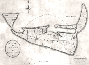 Timeline of Nantucket - Map of the Island of Nantucket, 1782, by Crèvecœur