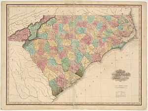 1827 North Carolina hurricane - Map of the Carolinas in 1827