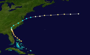 1854 Atlantic hurricane season - Image: 1854 Atlantic hurricane 3 track