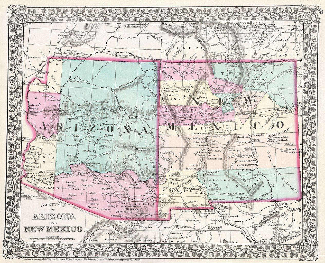 File1877 Mitchell Map Of Arizona And New Mexico