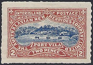 Postage stamps and postal history of Vanuatu - 1897 Australasian New Hebrides Company 2d stamp.