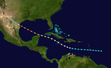 Map showing the track of a storm across seas and landmasses. The track begins at bottom-right and progresses generally towards the upper-left corner.