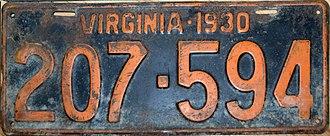 Vehicle registration plates of Virginia - Image: 1930 Virginia license plate