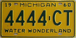 1960 in Michigan - Image: 1960 Michigan license plate