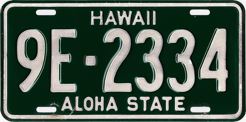 File:1961 Hawaii license plate 9E-2334.jpg