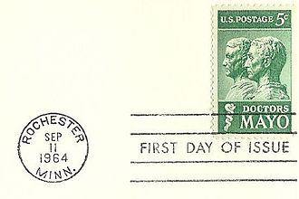 First day of issue - First day of issue postmark on a U.S. 1964 stamp.