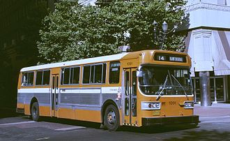 TriMet - TriMet's first paint scheme was this orange and white, worn by all vehicles from 1971 until 1980 and by a portion of the fleet (the oldest buses) until 1991.