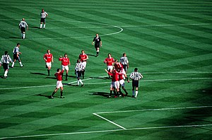 1999 FA Cup Final - Manchester United's players celebrate Paul Scholes' goal early in the second half to put them 2–0 up.
