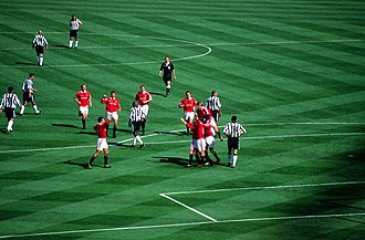 Paul Scholes - Manchester United's players celebrate their second goal by Paul Scholes in the 1999 FA Cup Final against Newcastle United at Wembley Stadium in 1999