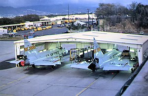 154th Wing - 199th FIS F-102s in a nose dock at Hickam AFB, 1976