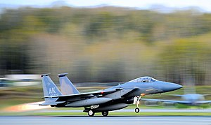 Elmendorf Air Force Base - The 19th Fighter Squadron's F-15 Eagle flagship takes off for the final time at Elmendorf Air Force Base, Alaska, 13 May 2010
