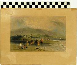 תל אבו הואם כפי שצוייר בשנת 1840 על ידי הצייר האנגלי ויליאם הנרי ברטלט, הציור נמצא במוזיאון הימי הלאומי