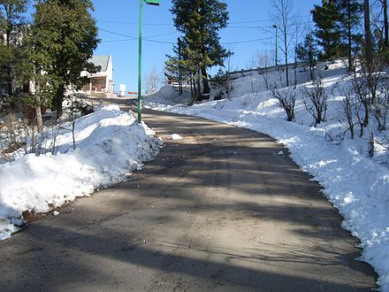 A road in Murree in January. - Murree